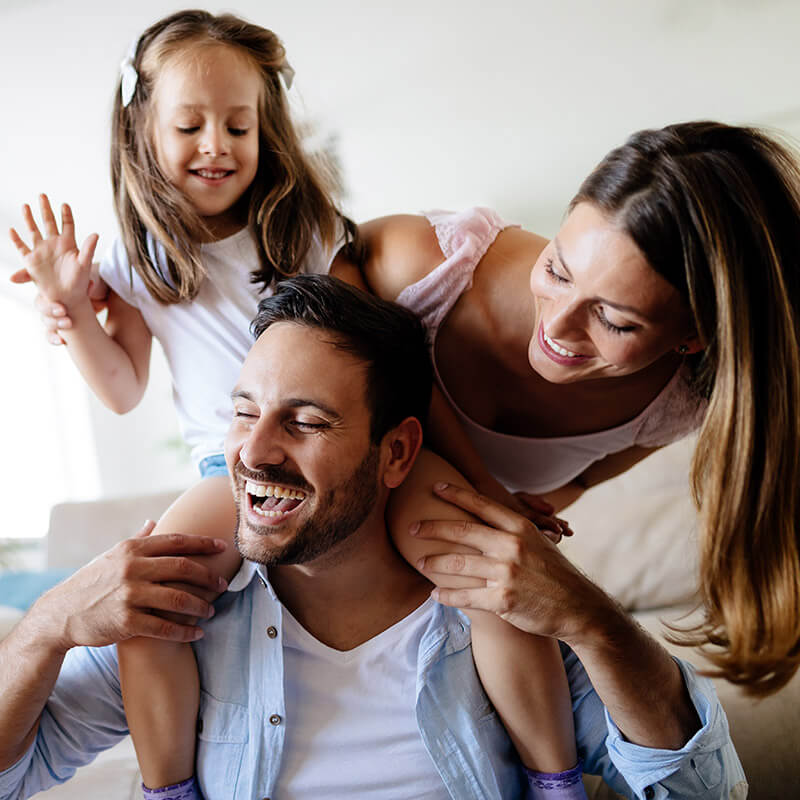 A family having fun in their house